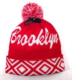 BROOKLYN POM BEANIE Men/Women Winter Knit Ski Hat Red/White Geometric-Pattern NY #Beanie
