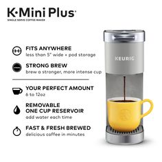 Keurig K-Mini Plus, Single Serve K-Cup Pod Coffee Maker, Studio Gray - Walmart.com - Walmart.com Small Coffee Maker, Pod Coffee Makers, Coffee Pods, Coffee Beans, Coffee Lovers, Keurig Cleaning, Mini Plus, Starbucks Breakfast, Starbucks Coffee