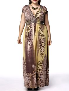 Alluring Plus Size Plunging Neck Short Sleeve Leopard Print Dress For Women