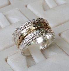 Silber und Gold Spinner Band 925 Sterlingsilber 14K Gelbgold Hochzeit Ring Handgefertigte Artisan Crafted Größe 8 Braut Frauen Unisex