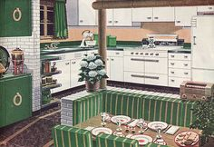 """1947 American Gas Association """"Old house, new kitchen"""" Advertisement"""