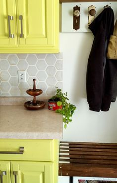 Chartreuse yellow kitchen cabinets with hexagon backsplash {Reality Daydream} Glass Subway Tile Backsplash, Hexagon Backsplash, Yellow Kitchen Cabinets, Tile Floor, Flooring, Daydream, Farmhouse, Google, Home Decor