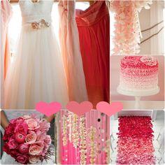 pink ombre Brautjunferkleider chiffon 2013 Hochzeit