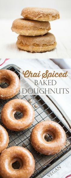Produce On Parade - Chai Spiced Baked Doughnuts - These baked donuts are infused with chai spice in the batter and the crunchy glaze.  A unique doughnut that's easy to make and sure to be a big hit. The taste is a bit like snickerdoodles.