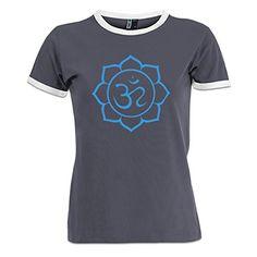 Shirtcity Om Lotus Flower Womens Ringer TShirt M Grey -- BEST VALUE BUY on Amazon