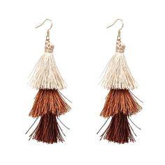 Fringe Tassel 3 Tier Earrings- Beige, Brown, Dark Brown
