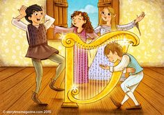 Fairies give Taffy a magic harp in our Welsh folk tale. Illustration by Christina Forshay (http://www.christinaforshay.com) for Storytime Issue 6 ~ STORYTIMEMAGAZINE.COM