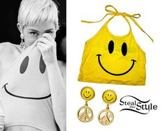 Miley Cyrus posed on the set of her new Backyard Session for The Happy Hippie Foundation last month wearing an O'Mighty OG Smiley Halter ($41.18) and her Vintage Moschino Peace Earrings ($495.00, sold out) which were a gift from her parents for Christmas.