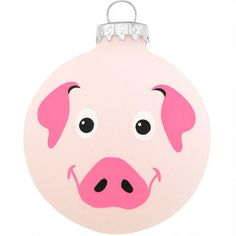 "This adorable little piggy is far from boaring! Exclusively crafted for Bronner's from glass in Hungary, our 3"" tall ornament is covered with pink colored ""pig-skin"" and features a cheerful face printed on the front and an irresistible curly tail on the back. No doubt pig enthusiasts will squeal over the ham of your ornament collection for years to come when you add this round pig glass ornament to the tree! Please select the alternate image for an additional..."