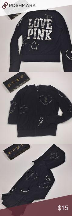 PINK hoodie sweatshirt Black zipup sweatshirt with silver bedazzled embellishments. Super fun jacket, great for layering on cooler days. PINK Victoria's Secret Tops Sweatshirts & Hoodies