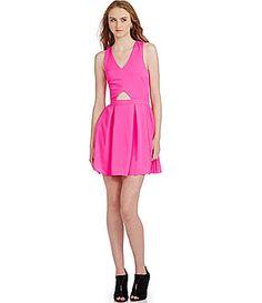 Sugarlips Color Me Pink Pleated Cutout Dress | Dillards.com