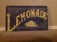 Ice Cold Lemonade Sign by FancifulShenanigans on Etsy Lemonade Sign, Lemonade Stands, Lemon Party, Food Park, Kids Outdoor Play, Chalkboard Art, Sign Quotes, Sign I, Crafts To Do