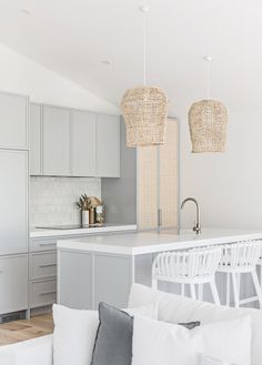 One of our favourite kitchens designed by . Beach House Kitchens, Home Kitchens, Boho Kitchen, Kitchen Design, Home Office Design, House Design, Chic Beach House, Mcm House, Decoration