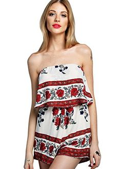 Wink Gal Women's Sexy Off Shoulder Ruffle Romper Beach Soft Floral Short Jumpsuit RED L. Made from 100%polyester. Sleeveless,Elasticted waist. Get summer ready in the flutter on by romper.A tier of woven rayon falls from an elastic,off-the -shoulder neckline to cover for a comfortable feel.Classic striped,and colorblocked floral print travels down the shift silhouette. Nice for summer beach,picnic,holiday,travel,prom,party or any occasion. Our model is wearing a size Small,Model's Profile…