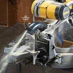 Send Miter Saw Dust Down w/ ABS plumbing elbow