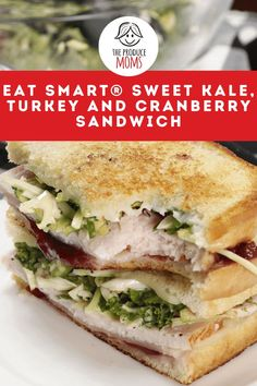 Turkey isn't just for the holidays. why wait all year to enjoy a sweet kale, turkey and cranberry sandwich. Follow this easy recipe for a yummy lunch! Kale Recipes, Cranberry Recipes, Easy Healthy Recipes, Chicken Recipes, Dinner Recipes, Easy Meals, Healthy Sandwiches, Delicious Sandwiches, Eat Smart