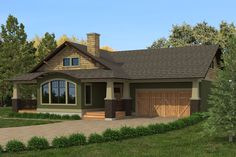 The Craftsman L-1733 home plan, in our L-Series, features: Covered entry/porch Open concept living area featuring vaulted ceiling and fireplace Kitchen with island and seating Dining area Additional room as den/bedroom with patio doors Master bedroom with ensuite and walk-in closet Covered deck 3Bedrooms 2 Bathrooms Attached 2 car garage