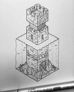 Inktober No.14. Edit: SOLD. For sale: £31. The fourteenth of my isometric Inktober illustrations. 31 days, 31 illustrations, £31 each. #inktober #isometric #inktober #inktober2016
