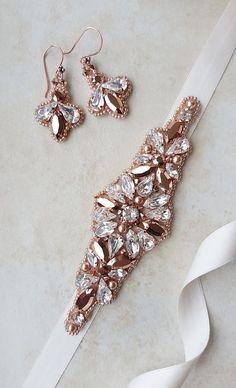Rose gold belt Swarovski belt rose gold sash by MagnificenceBridal
