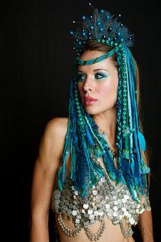 Aqua Blue Teal Faery Headdress by lotuscircle on Etsy