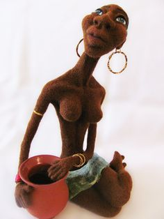 Needle Felted Art Doll The Girl from Africa by VladaHom on Etsy, $200.00