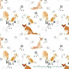 Fox print shared by Eliana on We Heart It Art And Illustration, Pattern Illustration, Illustrations, Woodland Illustration, Pattern Art, Pattern Design, Fox Pattern, Fox Art, Design Graphique