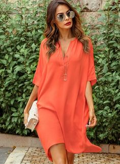 Solid Half Sleeve Above Knee Shift Dress - Orange S Half Sleeve Dresses, Half Sleeves, Day Dresses, Dresses Online, Affordable Dresses, Stylish Dresses, Women's Fashion Dresses, Look Fashion, High Fashion