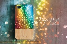 Apple iphone case for iphone iphone 5 iphone 4 iphone 4s iPhone 3Gs : Colorful rainbow bokeh with wood background (Not real wood)