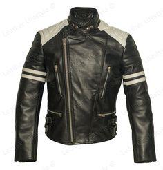 Men Genuine Lambskin Leather Jacket Black With White Biker Motorcycle jacket Z02…