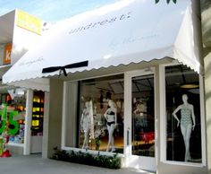 My favorite swimsuits! Awning Canopy, Shop Fronts, Store Displays, West Hollywood, Exterior Colors, Pop Up, Signage, Bridal, Outdoor Decor