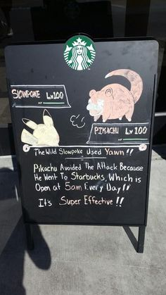 This doesn't follow the laws of Pokémon.  At all. But it's Starbucks. I'm torn between two loves.