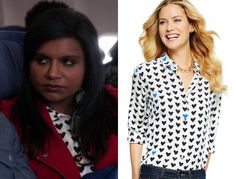 """Mindy's heart print shirt worn with a red moto jacket in """"L.A.""""/// C.Wonder Silk Heart Print Shirt (was $128, sold out)"""