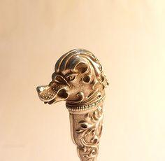 Antique Seals, Rare Art Nouveau Silver Figural Dog Seal Rare antique silver seal silver gifts for the couple silver wedding gifts Rare Antique, Antique Silver, Silver Gifts, Art Nouveau, Seal, Lion Sculpture, Statue, Antiques, Dogs