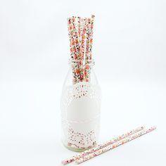 Papierstrohhalme - Blumenmuster