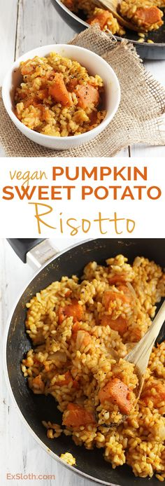 Vegan Pumpkin Sweet Potato Risotto via @ExSloth | ExSloth.com