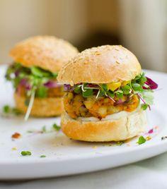 Do a mini-burger (aka, sliders!) night! These sweet potato + black-eyed pea minis are super easy + healthy & delicious! #vegan #veggieburger #sliders