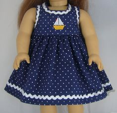 Navy Polka Dot Sailboat Dress w/ Ric Rac for American Girl Doll Clothes