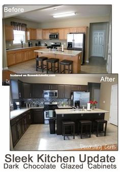 Before and After Chocolate Brown Kitchen using Rustoleum featured on Remodelaholic.com kitchen makeover