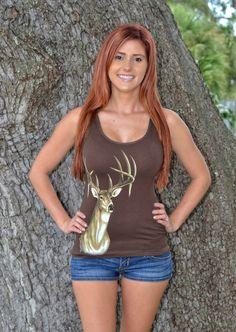 onesize fits some deer skull hunting tank tops