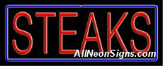 """Steaks Neon Sign-10295  13"""" Wide x 32"""" Tall x 3"""" Deep  110 volt U.L. 2161 transformers  Cool, Quiet, Energy Efficient  Hardware & chain are included  6' Power cord  For indoor use only  1 Year Warranty/electrical components  1 Year Warranty/standard transformers."""