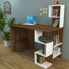 DERONI Schreibtisch - Computertisch mit Regal in modernem Design (Weis / Nussbaum)
