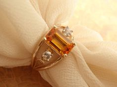 14k Gold Ring Natural Tangerine Emerald Cut by cutterstone on Etsy, $712.00