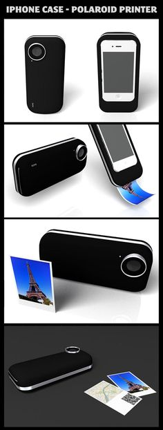 THIS IS PURRDY AWESOM... i don't have an iPhone ho =(  iPhone case - polaroid printer.-