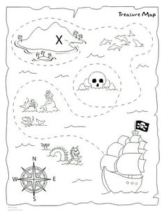 7 Best Images of Preschool Treasure Map Printable - Printable Pirate Treasure Map Template, Free Kids Printables Treasure Hunt Map and Preschool Treasure Map X Marks the Spot Pirate Treasure Maps, Pirate Maps, Treasure Hunt Map, Treasure Maps For Kids, Pirate Activities, Preschool Pirate Theme, Pirate Crafts, Printable Maps, Free Printable