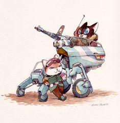 Adorable animals pilot devastating mechanical vehicles in this series of conceptual illustrations. by Evan Palmer