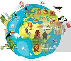 Royalty-free Vector Art: Cartoon map of World