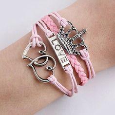 vintage kroon liefde leren armband infinity armband amerika touw armband (buy 1 get 1 gift) – EUR € 2.75