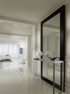 , Contemporary Hallway Design Ideas With Stainless Console Table Huge Modern Mirror With Black Frame White Tile Floor White Wall Paint Color Small Ceiling Lights White Modern Furniture: Hallway designs to Make Your House Better Hallway Furniture, Entryway Decor, Apartment Entryway, Entryway Ideas, Apartment Design, Mirrored Furniture, Furniture Showroom, Furniture Logo, Street Furniture