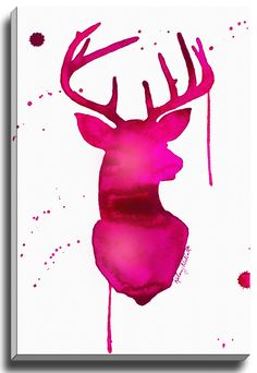 Pink Deer by Kelsey McNatt Painting Print on Gallery Wrapped Canvas