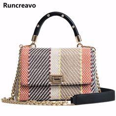 a324bf084fec 2018 crossbody сумки для женщин кожаные сумки роскошные сумки женские сумки  Дизайнер плед тканые цепи сумка sac основной купить на AliExpress